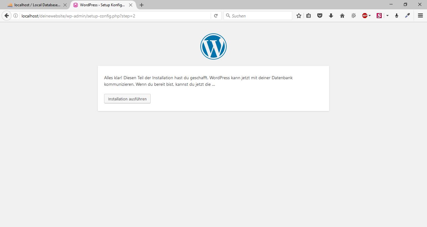 WordPress mit WampServer offline 13