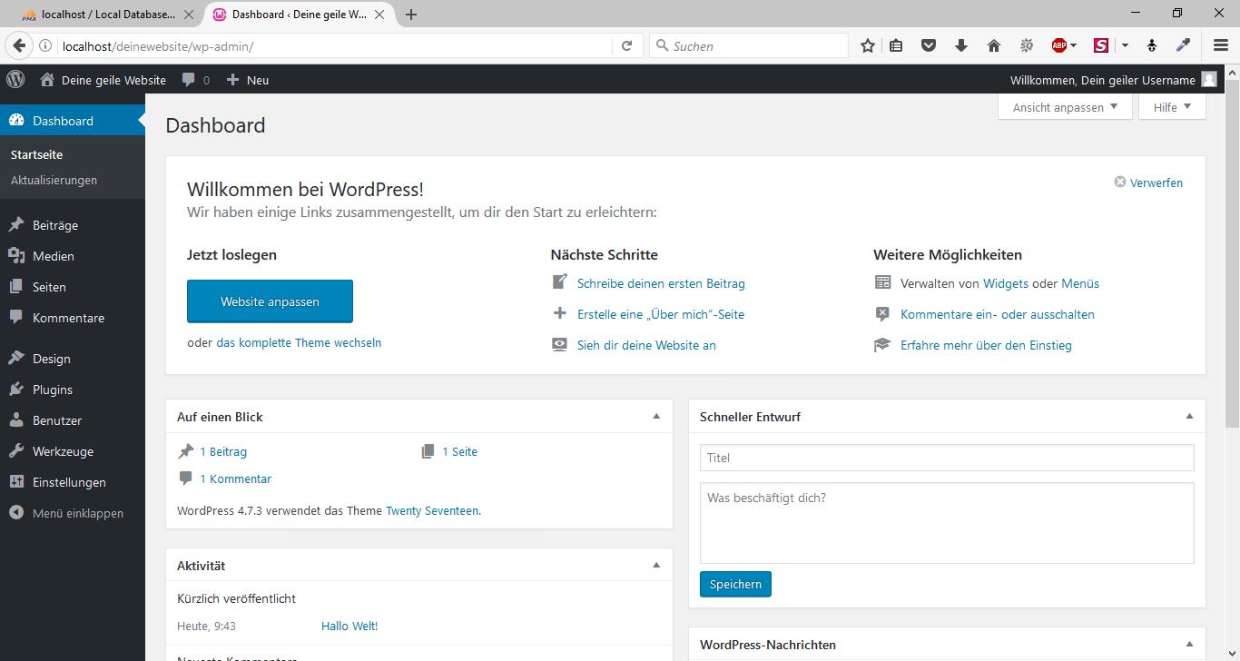 WordPress offline mit WampServer 16