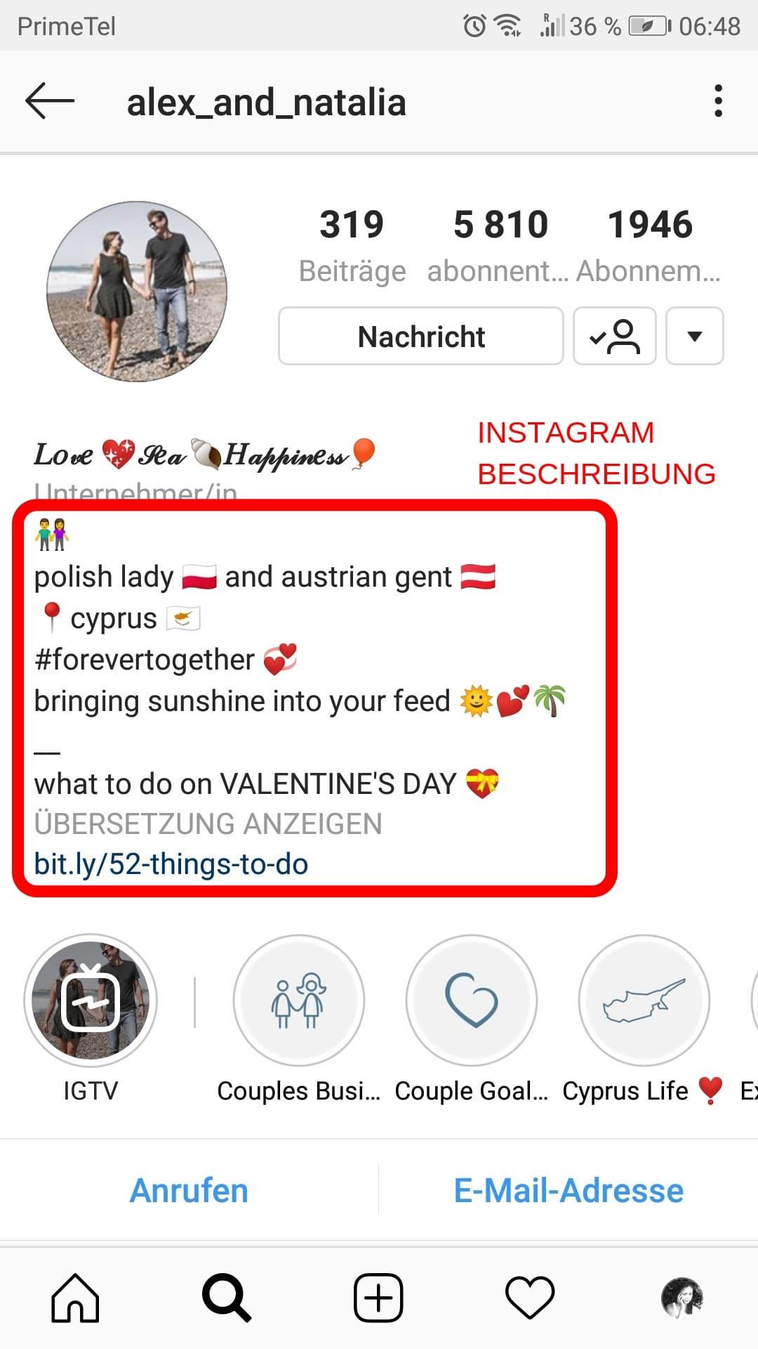 Schreibe eine Instagram Bio, die dir Follower bringt. 3